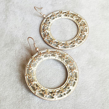 Bohemian earrings, patina earrings, moroccan earrings, large filigree disc chandeliers