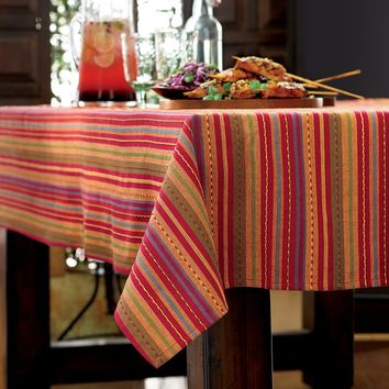 Bobby Flay Sangria Serape Tablecloth - 60'' x 102'' Oblong