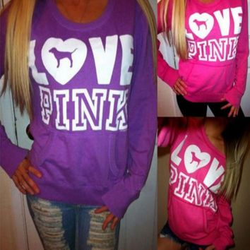 victoria s secret love pink women s fashion letter print round neck long sleeves pullover tops sweater