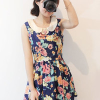 Vintage Floral Petal Collar Summer Dress