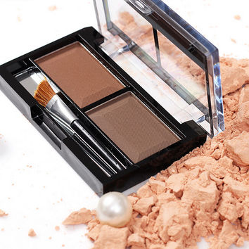 New 2 Color Sweatproof Waterproof Makeup Women Natural Warm Eyeshadow+Blush Palette Set with Brush  best Gift + Free Shipping
