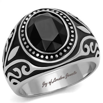 Men's or Women's Stainless Steel & Black Onyx Wedding Bands Ring
