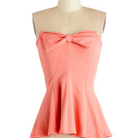 ModCloth Vintage Inspired Short Strapless Peplum Strawberry Ice Top