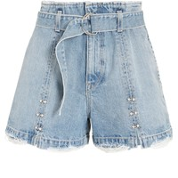 Pearl Detail Belted Denim Shorts