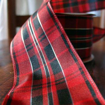 "Plaid Wired Ribbon in Red and Black2.5"" x 10 yd"