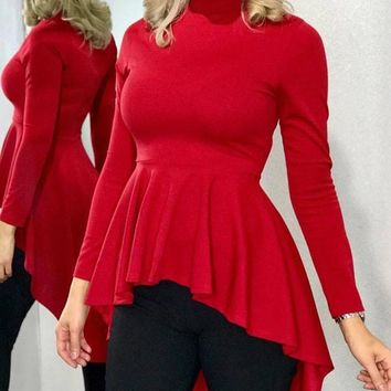 New Red Pleated High-Low Long Sleeve Round Neck Party Clubwear Blouse