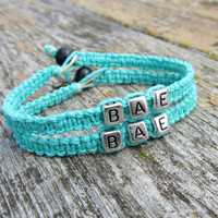 Teal Bracelets for Couples or Best Friends, BAE, Before Anyone Else, Handmade Macrame Hemp Jewelry