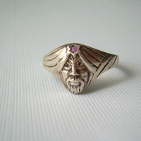 Genie Face Ring Size 7.5 Vintage Sterling Silver & Ruby-Mens Womens Jewelry-Gifts For Her Him-Alibaba Sheik Arabian Aladin-July Birthstone