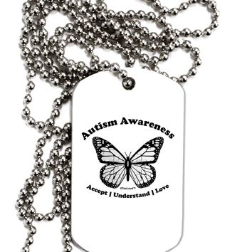 Autism Awareness - Puzzle Piece Butterfly 2 Adult Dog Tag Chain Necklace by TooLoud