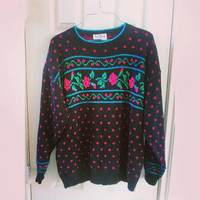 Women's 80s slouchy vintage hipster sweater