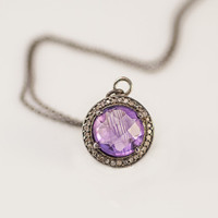 Pave Diamond - Purple Amethyst and Champaign Diamond Necklace - February Birthstone - Black Oxidized Silver - Fine Jewelry