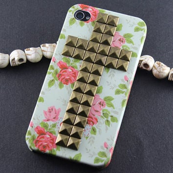 Floral Studded Cross iPhone Case