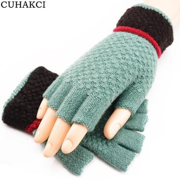 CUHAKCI Wool Winter Men Women Gloves Half Finger Warm Mittens Soft Fingerless Gloves Wrist Bule Outdoor Mittens Warmer Black
