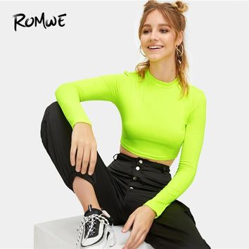 ROMWE Neon Bright Green Mock-Neck Slim Fitted Crop Top 2019 Swish Summer Women T-shirt Woman Clothing Stand Collar Tops