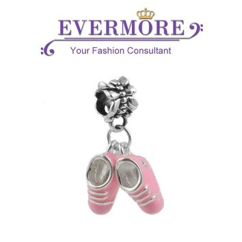 Cute Enamel Baby Shoes Dangle Beads Silver Plated Diy Pendant Charm fit Pandora Charm