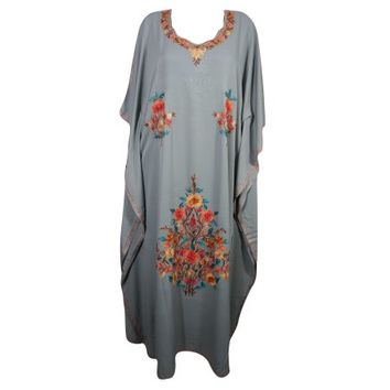 Mogul Designer Kashmiri Caftan Beautiful Floral Embroidered Kimono Sleeves Bikini Cover Up Beach Dress Resort Wear Ethnic Indian Maxi Kaftan - Walmart.com