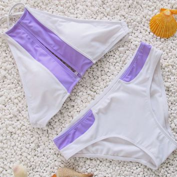 CUTE TWO PIECE CONTRAST WHITE PURPLE HOLES BIKINIS SWIMWEAR BATH SUIT