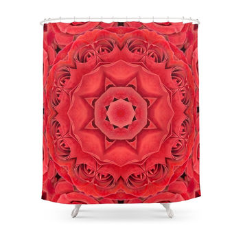 Society6 Beautiful Red Rose Mandala Shower Curtains