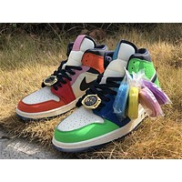 Melody Ehsani x Air Jordan 1 Mid gold watch lace buckle colorblock high-top basketball shoes