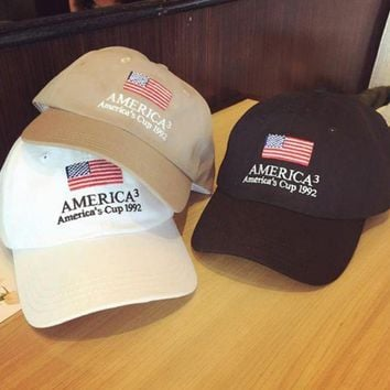 American Flag Embroidered Outdoor Baseball Cap Hats In 3 Colors