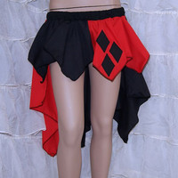 Harley Quinn Black Red Diamonds Bustle Flare Skirt Adult ALL Sizes - MTCoffinz