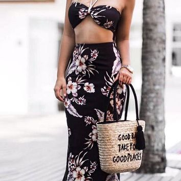 Black Floral Bandeau Mermaid Halter Neck Backless Two Piece Bohemian Maxi Dress