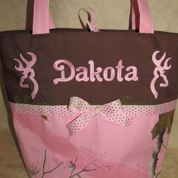 FREE SHIPPING Custom handmade pink real tree camo camouflage browning buck inspired diaper bag you choose name or initials