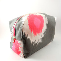 Pink and Grey Ikat  Metal Zipper Lined Makeup Bag, Gadget Case Pencil Case, Zippered, Cosmetics, For Her Under 20