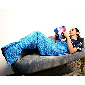 Knitted Mermaid Tail Couch Blanket (3 Colors)