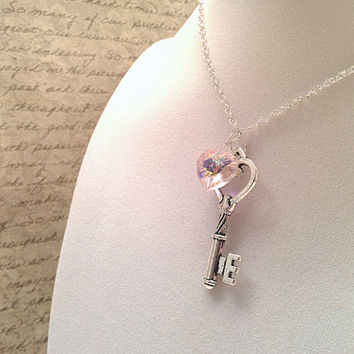 The Lauren- Key to My Heart- Pink Swarovski Crystal Heart with Sterling Silver Key Necklace