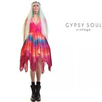 rebel fairy dress|tie dye dress|gauze dress|hippie dress|90s grunge dress|plunge front|kawaii dress|seapunk dress|rave dress|festival dress