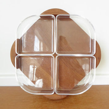 Selandia Danish modern teak snack tray with acrylic dishes