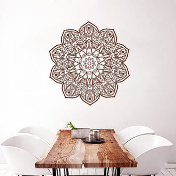Mandala Wall Decal Lotus Stickers Boho Vinyl Decals Flower Art Mural Home Yoga Studio Interior Design Bedroom Sticker Bohemian Decor KY129