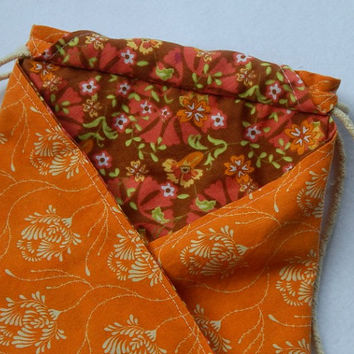 Orange and Cream Floral Lined Drawstring Bag With Pockets Jewelry Pouch Gift Bag Cosmetic Bag Travel Pouch Trinket Bag