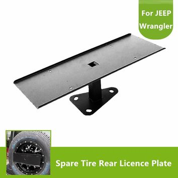 High Quality Stainless Steel Black Spare Tire License Plate Mount Bracket for Jeep Wrangler JK 2007-2017
