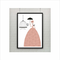 Lady with Bird and Cage Print / US Letter-A4 up to A0 size / Wall Art / Retro Poster / Retro Art / Girls Nursery Decor / Mother's Day Gift