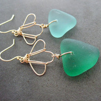 Sea Glass Wire Shell Earrings