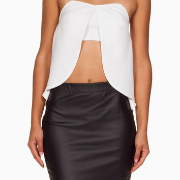 (anh) Flared Strapless Tulip Crop ivory Top