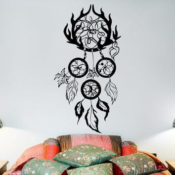 Dreamcatcher Wall Decal- Boho Dreamcatcher Decals Hippie Native America Tribal Bohemian Bedding Bedroom Dorm Living Room Wall Art Decor U015