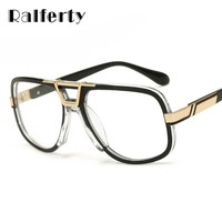 Ralferty Oversized Transparent Glasses Vintage Sunglasses Men Clear Eyeglass Women Retro Gold Frame Gradient Goggles Oculo 68370