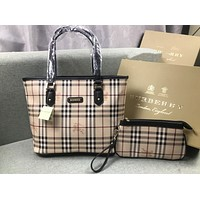 burberry Trending Ladies Shopping Bag Leather Tote Handbag Shoulder Bag Purse Wallet Set Two-Piece