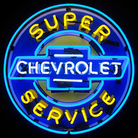 Chevrolet Super Service Neon Sign with Backing-Chevy Mall