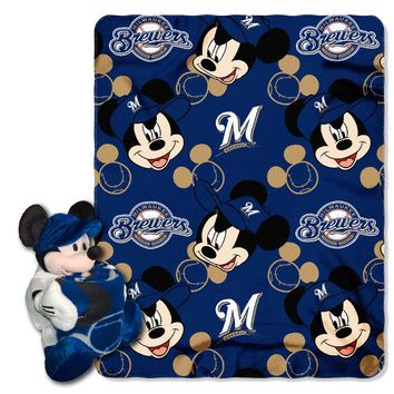 "Brewers OFFICIAL Major League Baseball & Disney Cobranded, Mickey Mouse Hugger Character Shaped Pillow and 40""x 50"" Fleece Throw Set  by The Northwest Company"