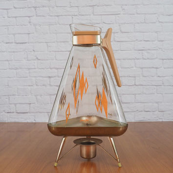 Atomic Mid Century Glass Coffee Carafe and Warmer by Inland Glass Works
