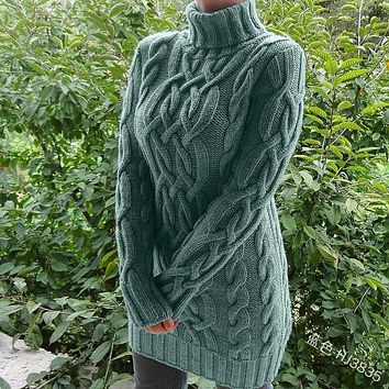 Turtleneck Tight Cable Knitted Sweater