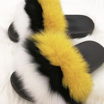 Bumble fox fur slides