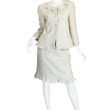 1999A Runway Pale Green Boucle Chanel Suit