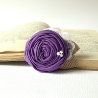 Crocus purple wedding Shabby chic rosette hair piece burlap pearls lace clip fabric flower girl bridal bridesmaid rose rustic wedding lilac