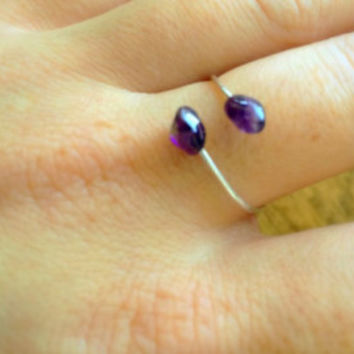 Amethyst Ring, February Stone, Raw Amethyst Ring, Sterling Silver, Natural Stone, Amethyst Open Ring
