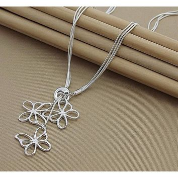 Silver 925 Three Lovely Butterfly Pendant Necklace